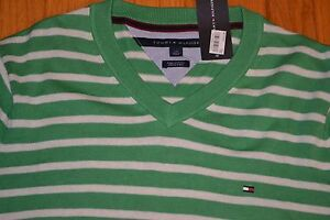 Tommy-Hilfiger-V-Neck-Striped-Sweater-Men-039-s-Size-Large-Color-Greenbriar-NWT