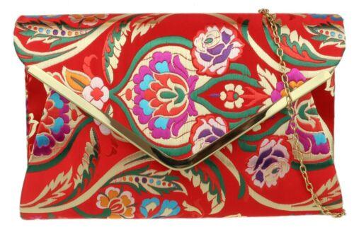 Baroque Ladies Satin Clutch Bag Flowers Frame Elegant Nude Pink Handbag