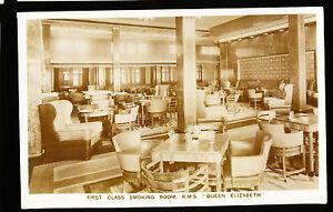 RMS Queen Elizabeth Photo Postcard - 1st Class Smoking Room - Cunard Line