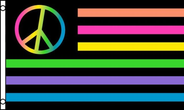 USA American Flag Rainbow Neon Peace Polyester 3x5 Foot Outdoor ...