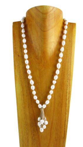 """Genuine Freshwater Pearl 28/"""" Long 10mm Bead Beige Suede Tassel Necklace"""