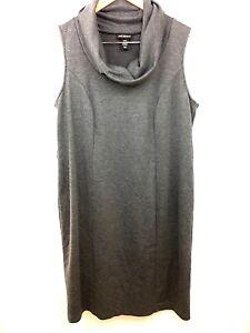 Lane-Bryant-Womens-Dress-Sheath-Gray-Plus-Sleeveless-Cowl-Neck-Stretch-Size-16