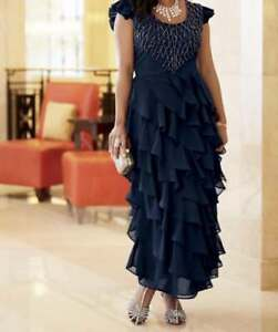 06e09605f334 Image is loading size-10-Navy-Ruffled-Beaded-Gown-Dress-by-