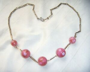 VINTAGE-ART-DECO-SATIN-CASED-PINK-ROSES-GLASS-BEADS-R-Gold-NECKLACE-w-Provenance
