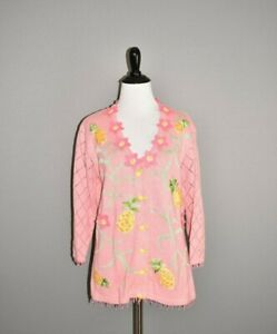 STORYBOOK-KNITS-99-Pineapple-Delight-Pink-Embellished-Cardigan-Sweater-Small