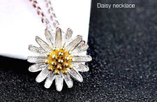 925 STERLING SILVER PLATED DAISY FLOWER NECKLACE PENDANT