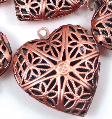 5 Antiuque Copper Filigree Hollow Locket Heart Pendants 26x24mm