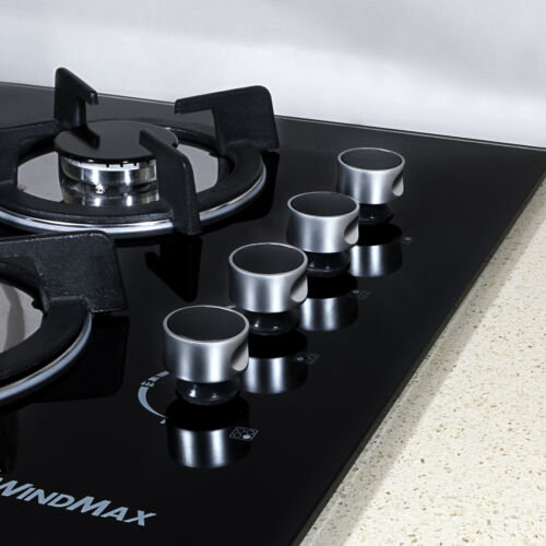 """METAWELL GG403 24/"""" Black Tempered Glass Built-in 4 Burner Gas Cooktops Cooker"""