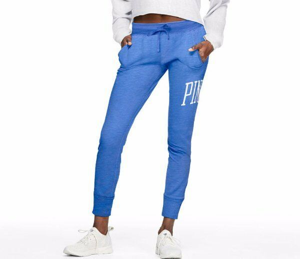 NWT Victoria's Secret PINK M Medium bluee Skinny Collegiate Sweatpants