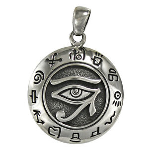Sterling silver egyptian eye of horus ra udjat pendant all seeing image is loading sterling silver egyptian eye of horus ra udjat mozeypictures Images