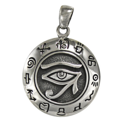 Sterling Silver Egyptian Eye of Horus Ra Udjat Pendant All Seeing Eye Jewelry
