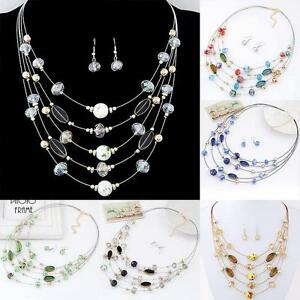 1 Set Women Wedding Bridal Jewelry Set Crystal Beads Earrings Necklace Fashion