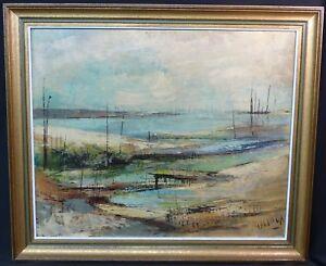 B-joli-tableau-signe-Pierre-MALRIEUX-peinture-toile-61cm-bassin-Arcachon