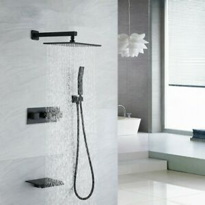 Matte Black Solid Brass 10 Rain Shower System With Handheld Waterfall Tub Spout Ebay
