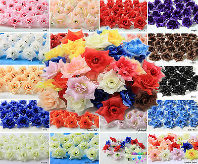 50X 100X  Roses Artificial Silk Flower Heads Wholesale Lots Wedding decor  F01