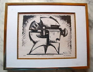 Fine-Art-Lithograph-Abstract-Sculptural-Study-Signed-3-20-George-Koras-Greek