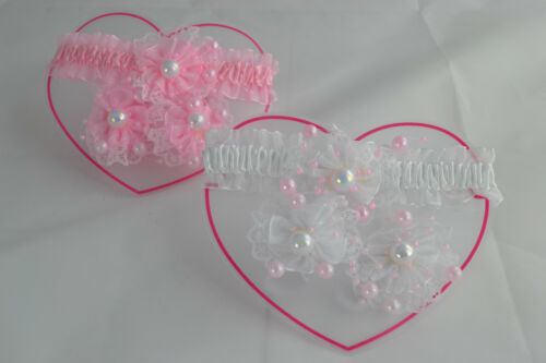Cute Baby Headband /& Ponio Bobble Set With Pearl Detail White Or Pink