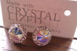 Genuine-Swarovski-Elements-13mm-Aurora-Borealis-AB-Crystal-Stud-Earrings
