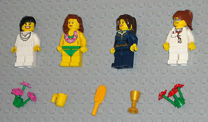 Lego-MINIFIGURES-4-Women-Girls-Lady-People-Flowers-Female-Town-Minifigs-Toys