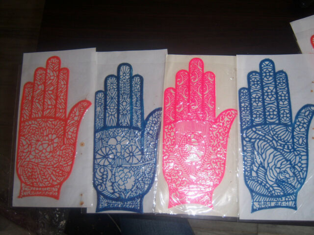 10 SINGLE HAND HENNA  DESIGN rubber palm STENCIL gypsy BODY ART tattoo LOT