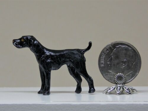 1//12 DOLLHOUSE SIZE VINTAGE METAL BLACK LAB DOG FIGURINE D/&M MINIATURES