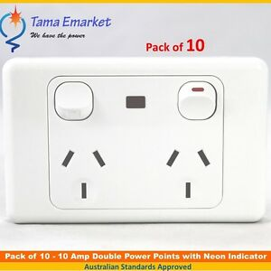 10 x 10 Amp Double Power Point with Neon Indicator GPO Socket ...