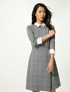 Intellective Marks And Spencer Striped Long Sleeve Skater Dress In Grey Colour Size 14 Drip-Dry