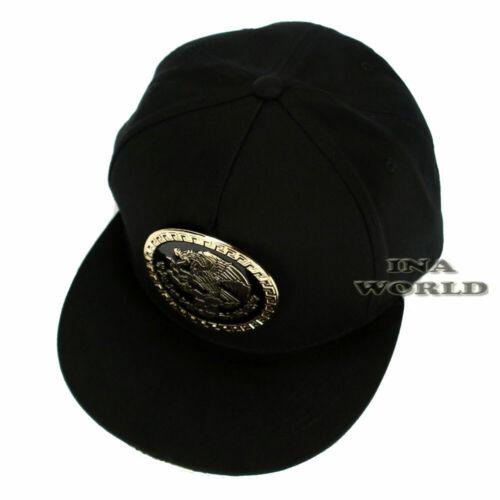 Mexico Hat Federal Metallic Gold Logo Snapback Flat Bill Baseball Cap-Black//Gold