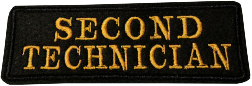Second Technician Black /& Yellow Badge Embroidered Patch Sew//Iron on 11cm