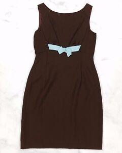 Vtg-Brown-Sleeveless-A-Line-Dress-Blue-Bow-Womens-Size-8