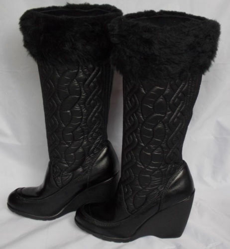 8  Report All Weather Quilted Leather Black Boot  New not original box last pair