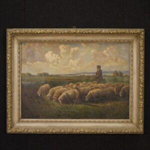 Dipinto-quadro-paesaggio-italiano-olio-su-tela-cornice-laccata-stile-antico-900