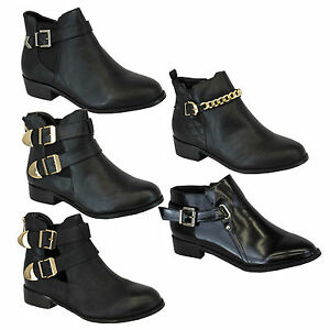 Beautiful WOMENS LADIES CUT OUT LOW HEEL METAL BUCKLE ANKLE LOOP BOOTIES WINTER BOOTS SIZE