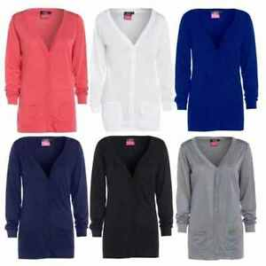Womens New Button Boyfriend Cardigan Top Ladies Long Sleeve Pocket ...