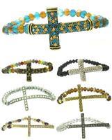 Beaded Fashion Sideways Cross Crystal Stretch Bracelet - Iced Out - Us Seller