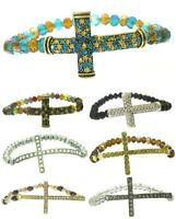 Beaded Fashion Sideways Cross Crystal Stretch Bracelet - Iced Out - Us Seller