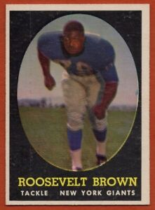 1958-Topps-102-Rosey-Brown-EX-EXMINT-MARKED-HOF-New-York-Giants-FREE-SHIPPING