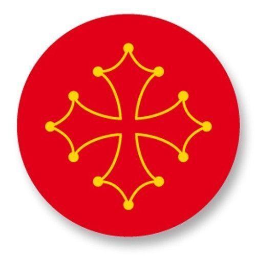 Magnet Aimant Frigo Ø38mm Drapeau Flag Région Midi Pyrénées Midi-Pyrénéens