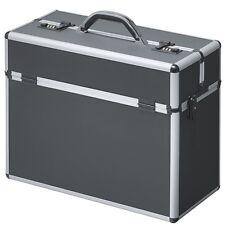 Pilotenkoffer Koffer Aluminium schwarz Metall mit Schultergurt Zahlenschloss