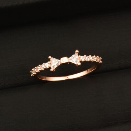 Women Romantic Shiny Tiny Crystal Bow Engagement Ring 18k White//Rose Gold Plated