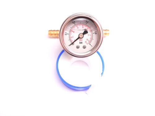 RSR Benzindruck Anzeige Manometer SET 1BAR Ölgefüllt Benzindruckmesser Prüfer GT