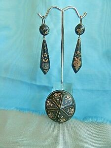 Antique-Pique-Earrings-amp-Matching-Broach