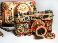 Zorki-5 Russian RF camera. New design. Stylized as Hohloma. Hand made. EX!