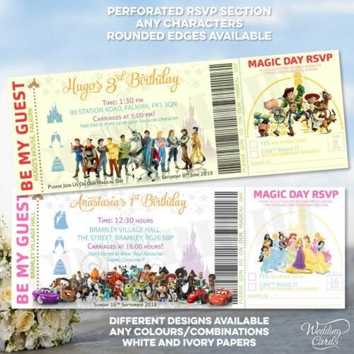 Disney Birthday Invite Princess Card Invitations Toy Story Wallet Party Heroes