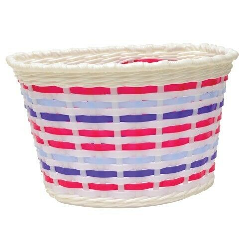Multi Coloured Childrens Woven Bike Basket Tracked Delivery