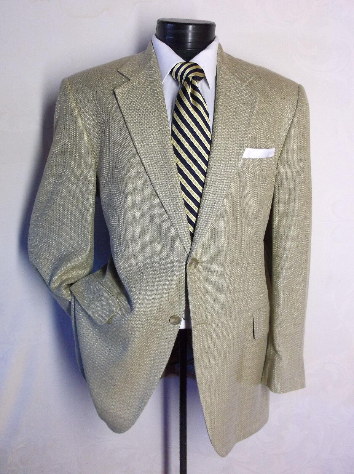 Stunning CHAPS Beige 100% Silk 2Button Pattern  Size 42R