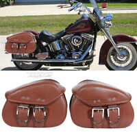 Motorcycle Pu Leather Side Saddle Bag For Yamaha V-star 950 1100 1300 Classic