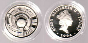 1994 - Tuvalu - 20 $ - Fußball-WM 1994 USA - Flaggen - SELTEN - mit Zertifikat - Deutschland - 1994 - Tuvalu - 20 $ - Fußball-WM 1994 USA - Flaggen - SELTEN - mit Zertifikat - Deutschland