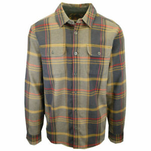 prAna-Men-039-s-Charcoal-Gold-Red-Plaid-L-S-Flannel-Shirt-S09