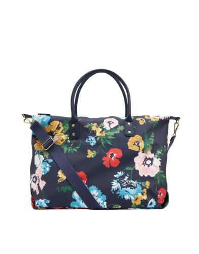 New! Joules Kembry Navy Floral Printed Canvas Overnight Weekend Bag